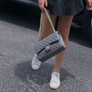 CHANEL classic double flap grey